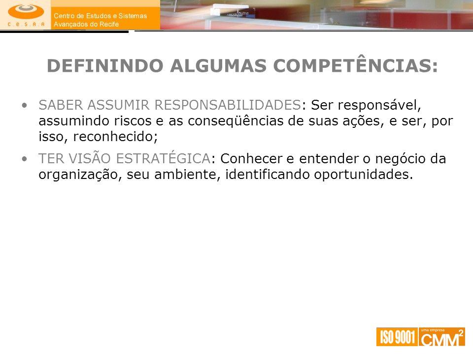 DEFININDO ALGUMAS COMPETÊNCIAS: