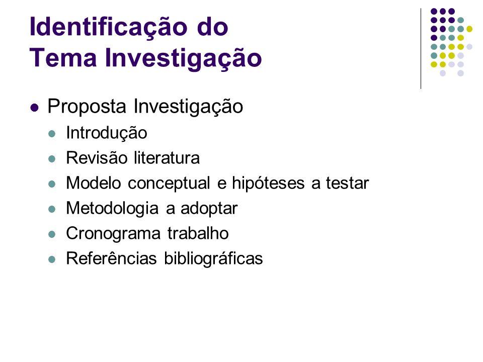 Identificação do Tema Investigação