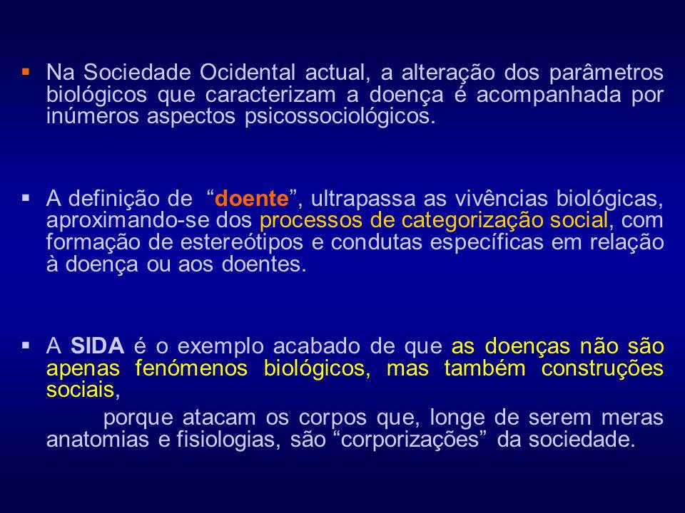 Na Sociedade Ocidental actual, a alteração dos parâmetros biológicos que caracterizam a doença é acompanhada por inúmeros aspectos psicossociológicos.