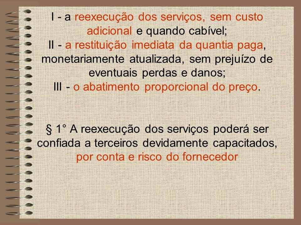 I - a reexecução dos serviços, sem custo adicional e quando cabível; II - a restituição imediata da quantia paga, monetariamente atualizada, sem prejuízo de eventuais perdas e danos; III - o abatimento proporcional do preço.