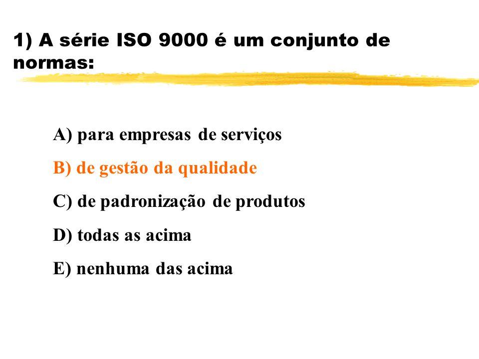 1) A série ISO 9000 é um conjunto de normas:
