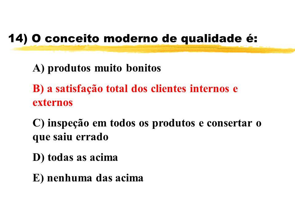 14) O conceito moderno de qualidade é: