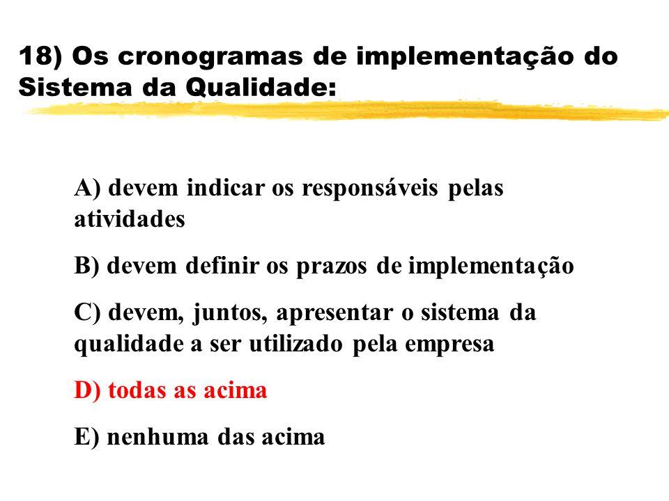 18) Os cronogramas de implementação do Sistema da Qualidade: