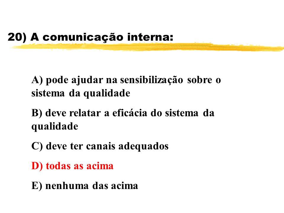 20) A comunicação interna: