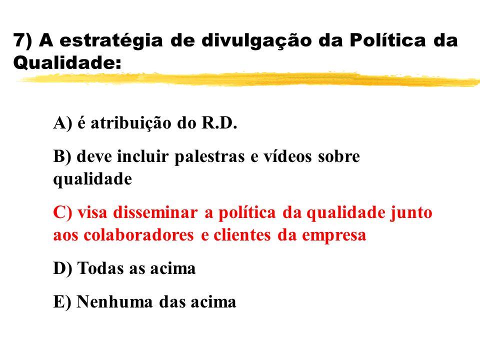 7) A estratégia de divulgação da Política da Qualidade: