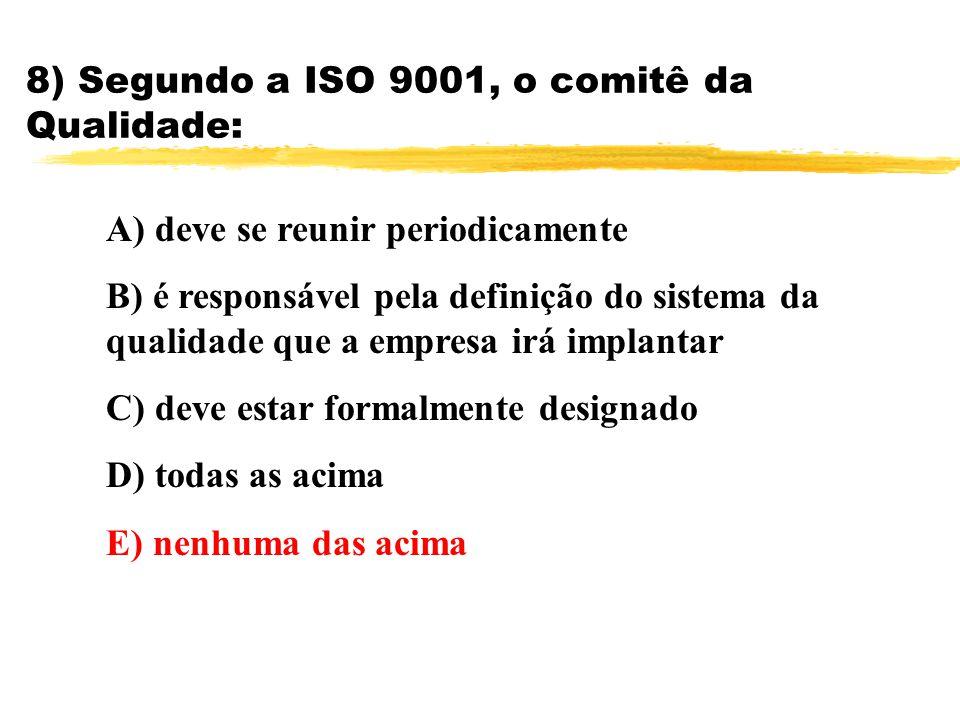 8) Segundo a ISO 9001, o comitê da Qualidade: