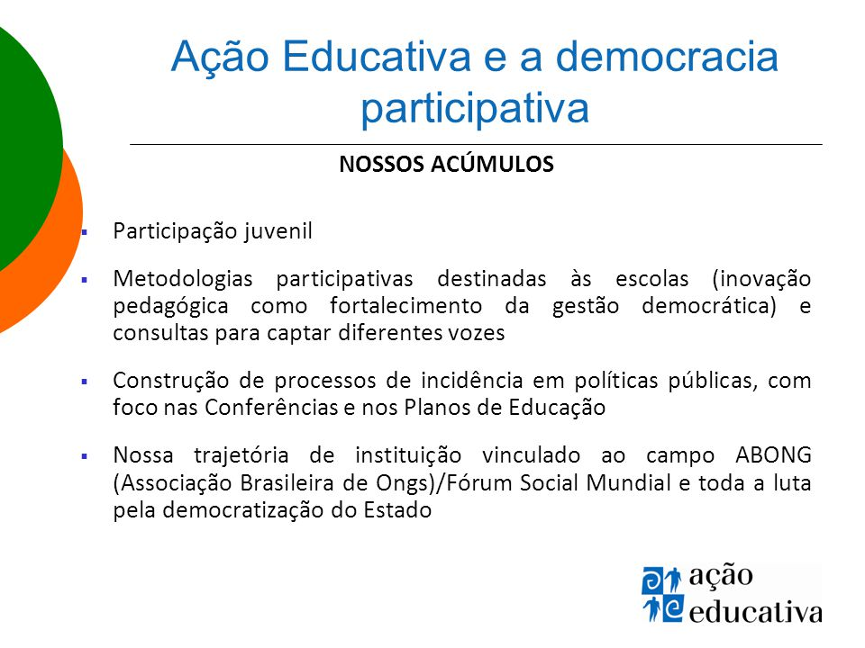 Ação Educativa e a democracia participativa