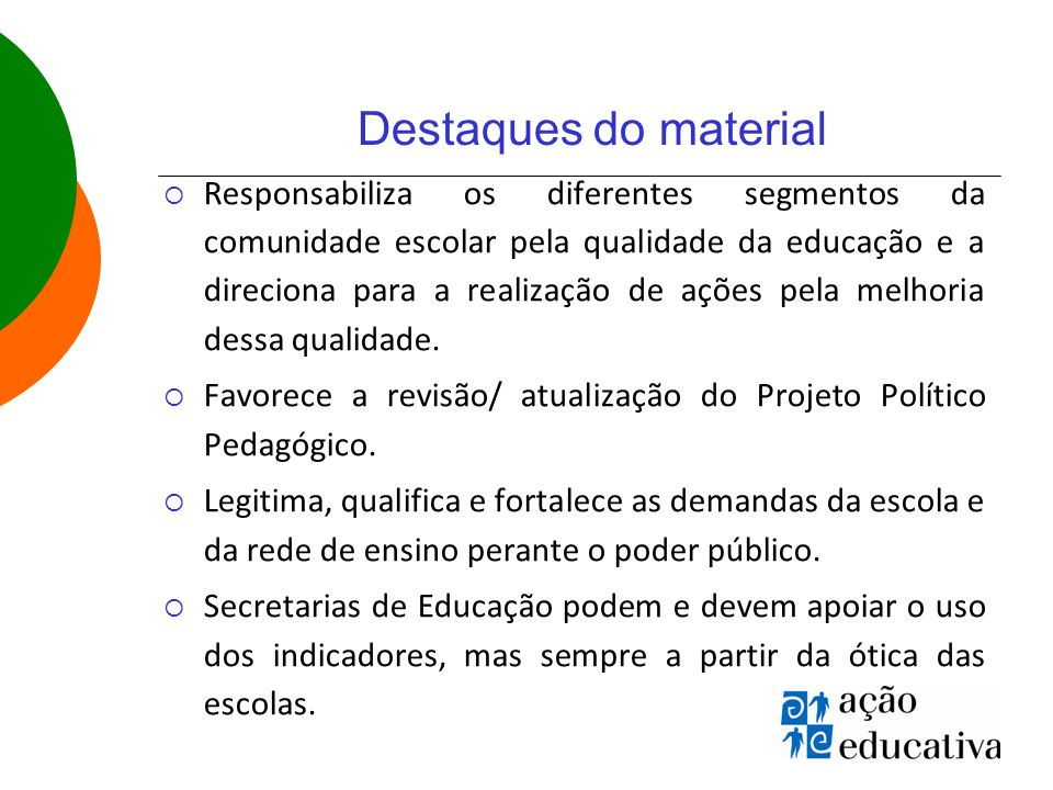 Destaques do material