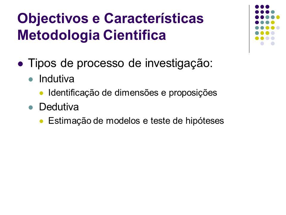 Objectivos e Características Metodologia Cientifica