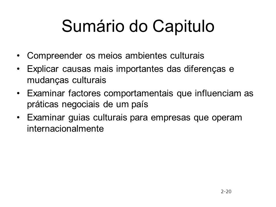 Sumário do Capitulo Compreender os meios ambientes culturais