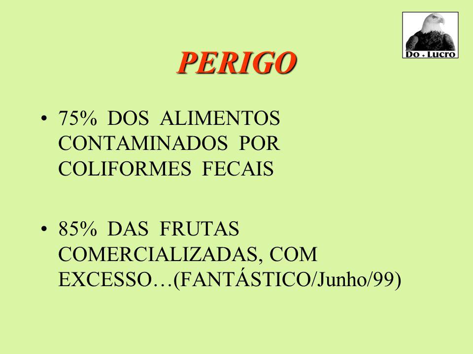 PERIGO 75% DOS ALIMENTOS CONTAMINADOS POR COLIFORMES FECAIS