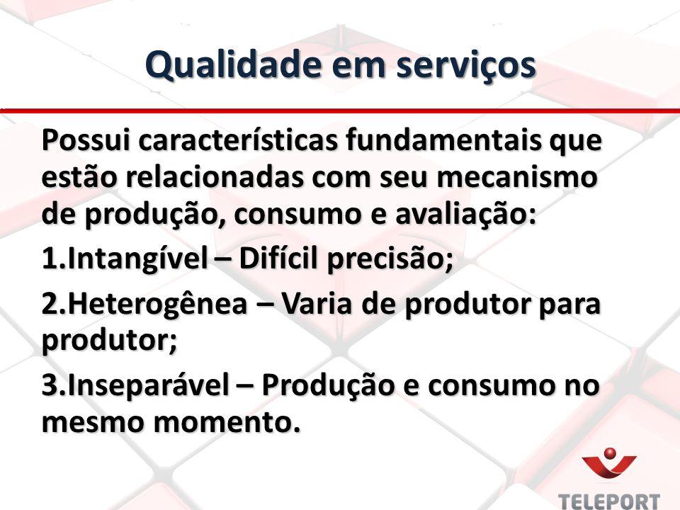 Qualidade em serviços Possui características fundamentais que estão relacionadas com seu mecanismo de produção, consumo e avaliação: