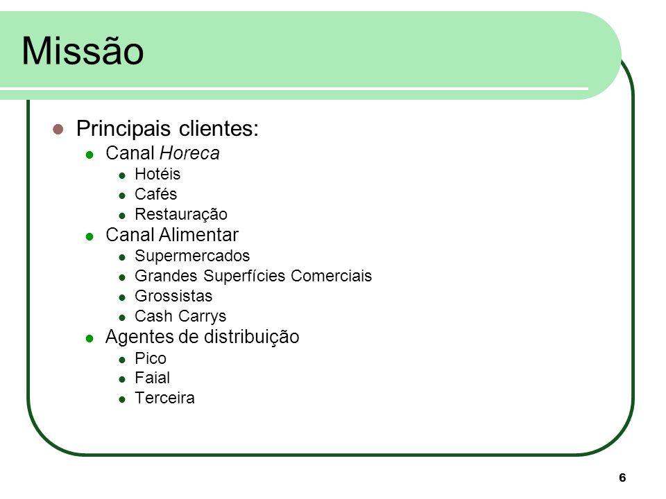 Missão Principais clientes: Canal Horeca Canal Alimentar