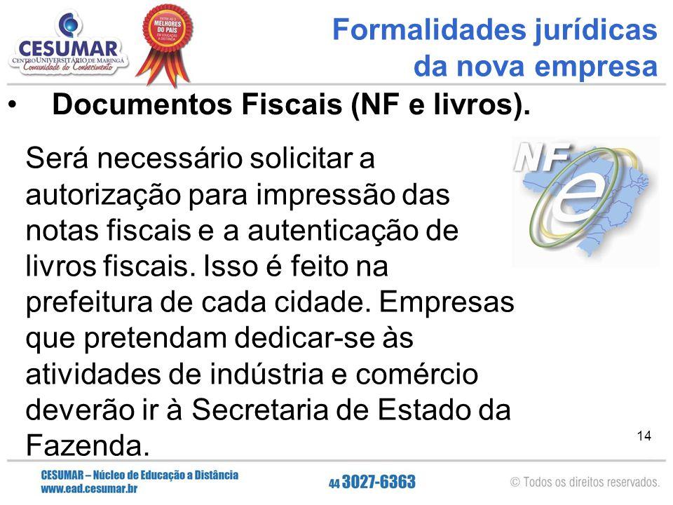 Formalidades jurídicas da nova empresa