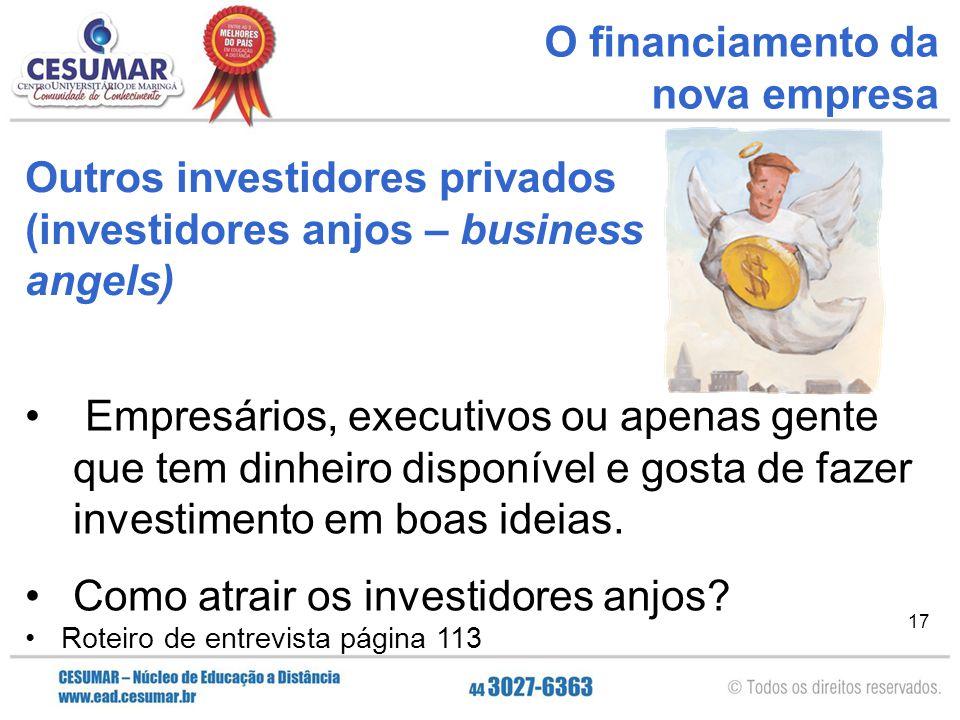 Outros investidores privados (investidores anjos – business angels)