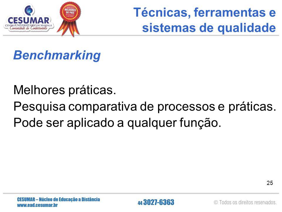 Técnicas, ferramentas e sistemas de qualidade