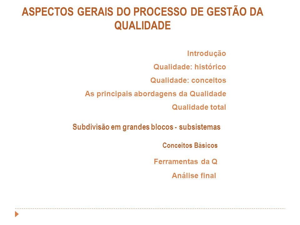 ASPECTOS GERAIS DO PROCESSO DE GESTÃO DA QUALIDADE