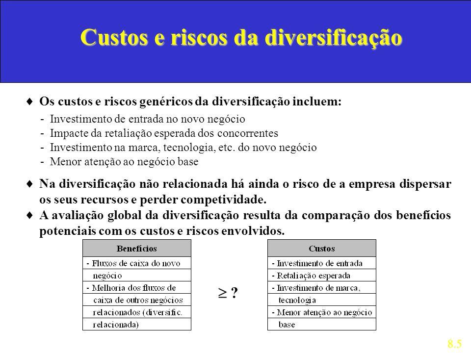 Custos e riscos da diversificação