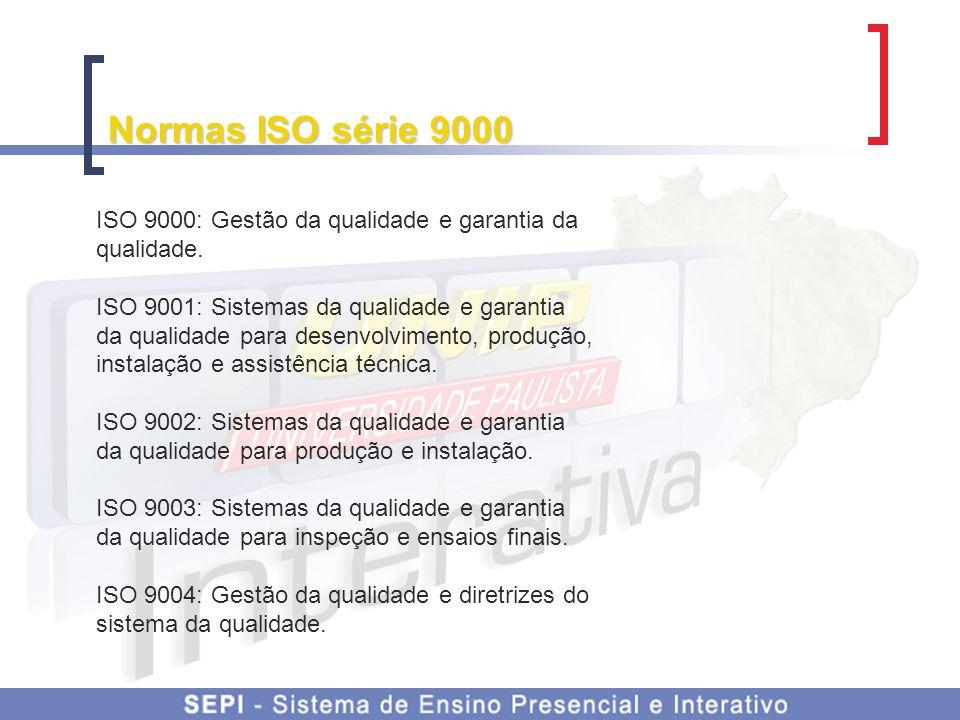 Normas ISO série 9000 ISO 9000: Gestão da qualidade e garantia da qualidade.