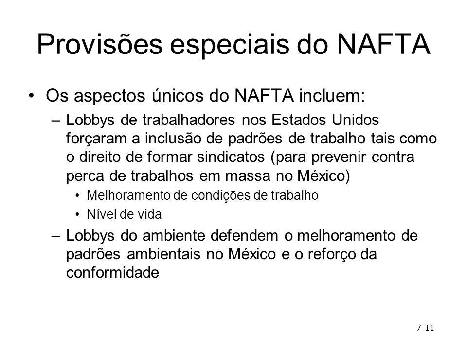 Provisões especiais do NAFTA