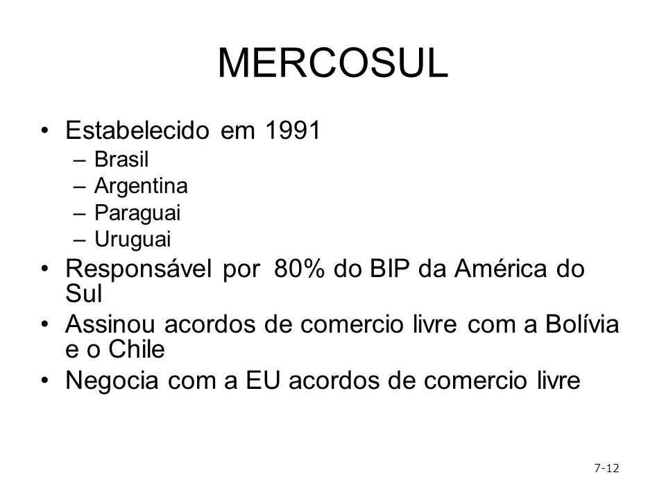 MERCOSUL Estabelecido em 1991