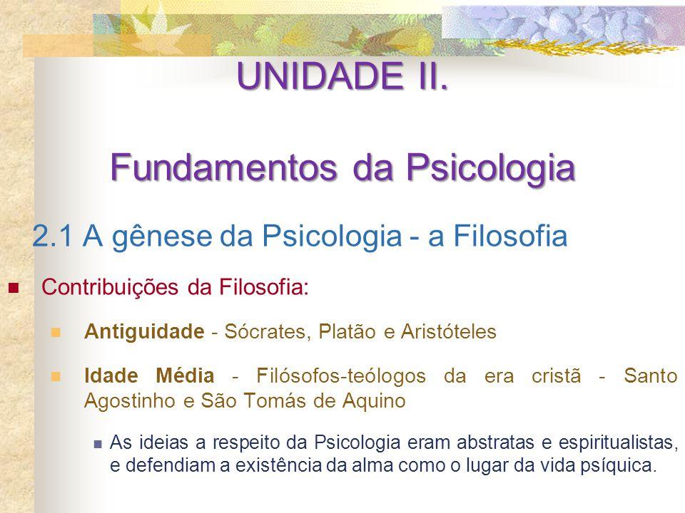 UNIDADE II. Fundamentos da Psicologia