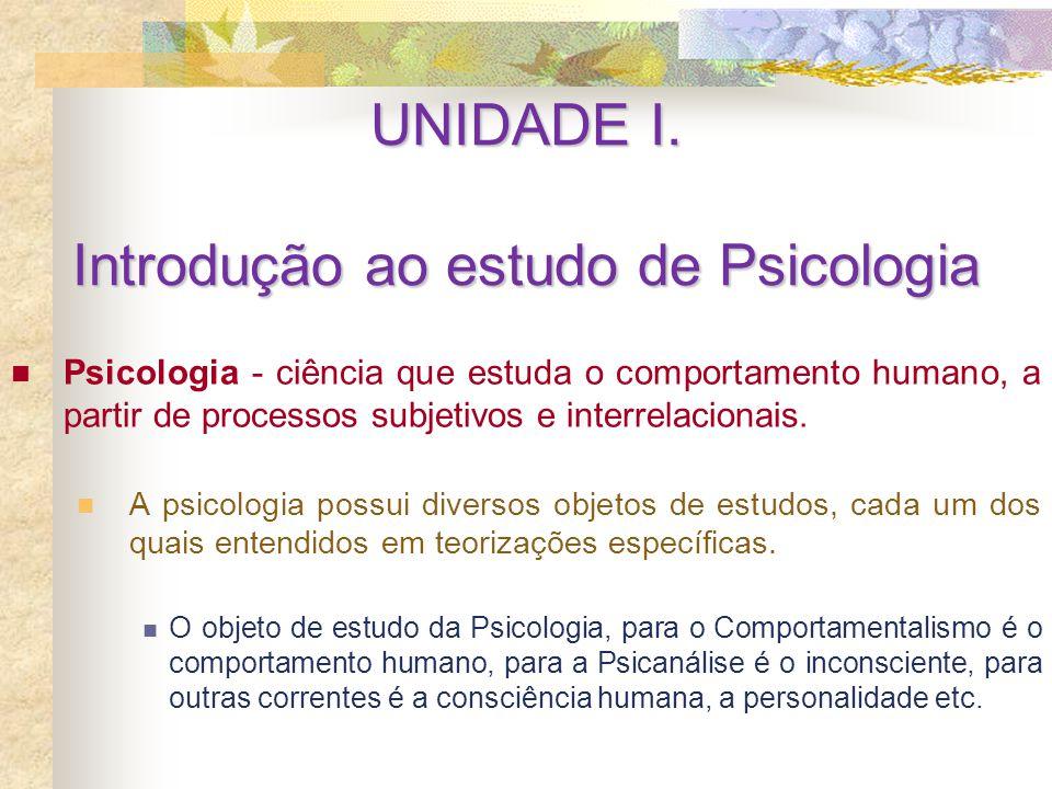 UNIDADE I. Introdução ao estudo de Psicologia