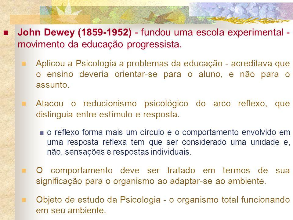 John Dewey (1859-1952) - fundou uma escola experimental - movimento da educação progressista.