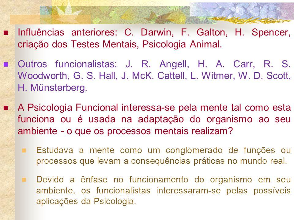 Influências anteriores: C. Darwin, F. Galton, H