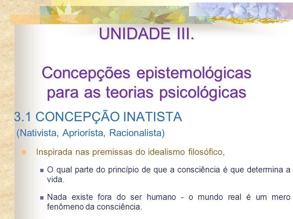 UNIDADE III. Concepções epistemológicas para as teorias psicológicas