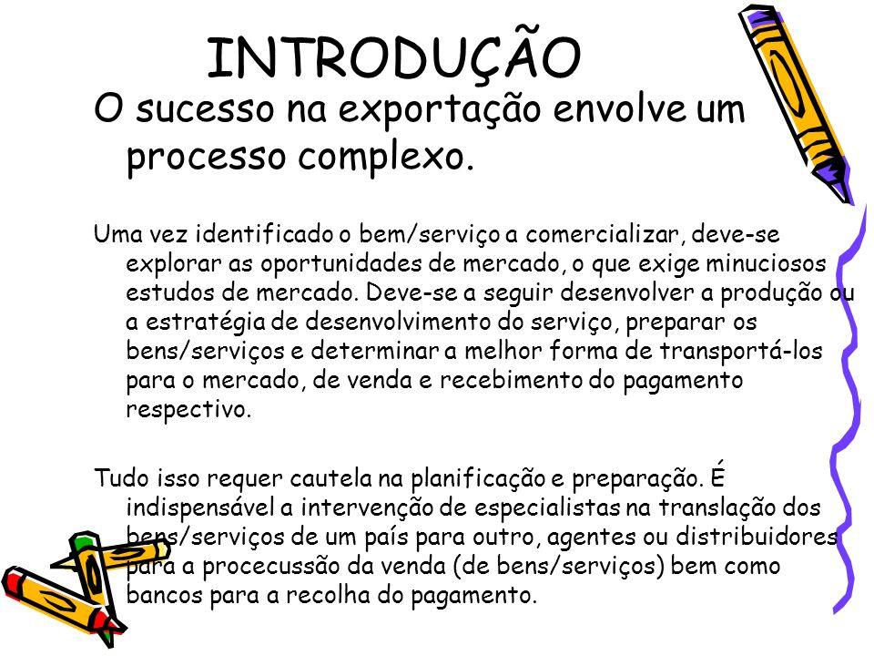 INTRODUÇÃO O sucesso na exportação envolve um processo complexo.
