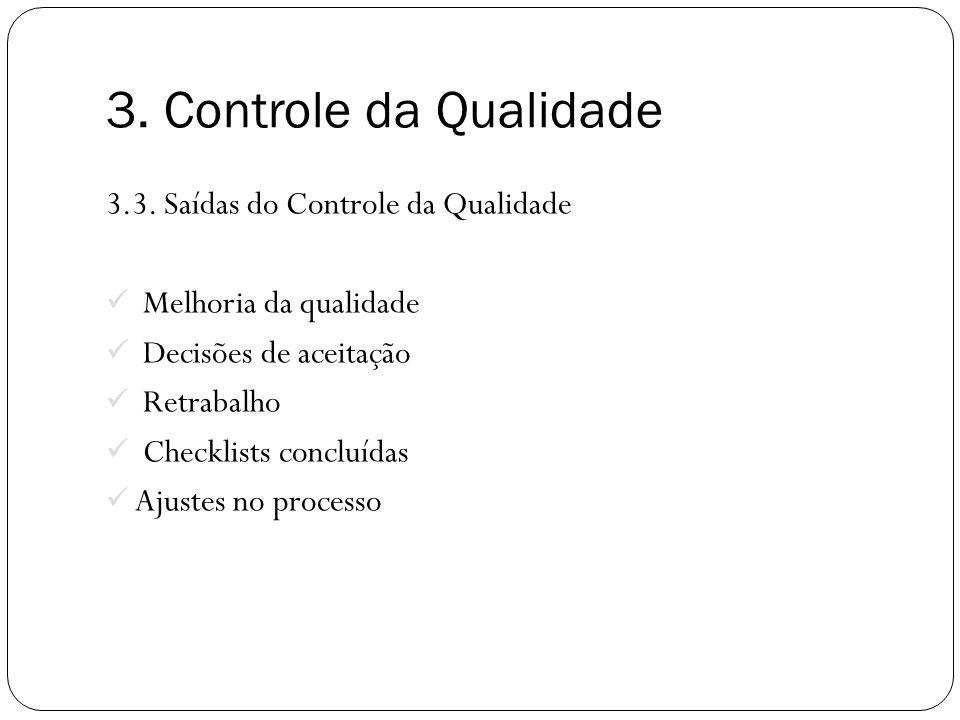 3. Controle da Qualidade 3.3. Saídas do Controle da Qualidade