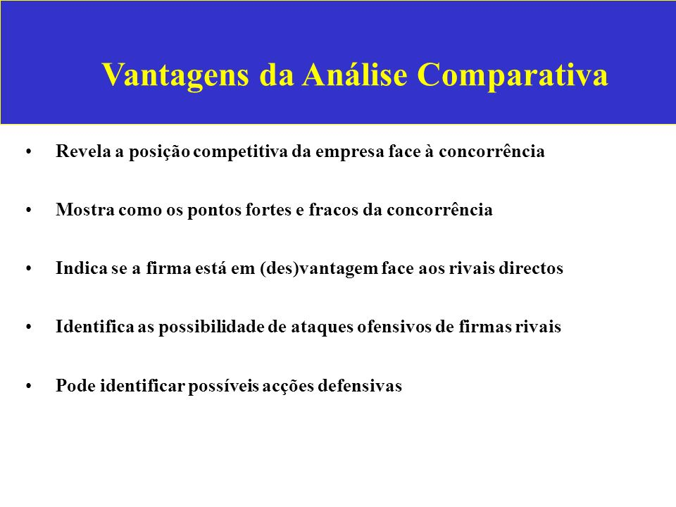Vantagens da Análise Comparativa