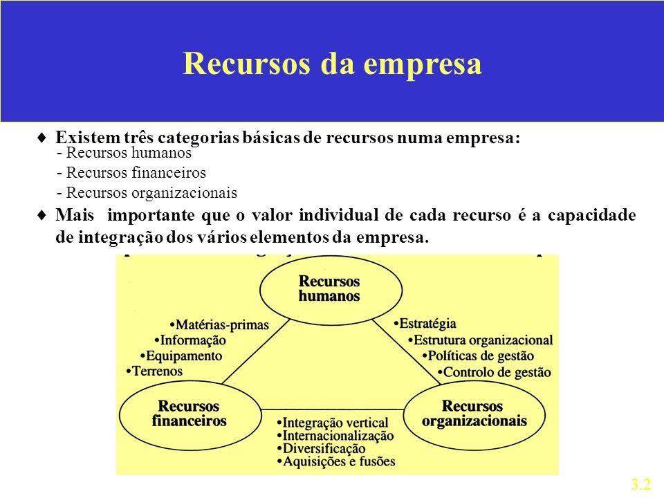 Recursos da empresa Existem três categorias básicas de recursos numa empresa: - Recursos humanos. - Recursos financeiros.