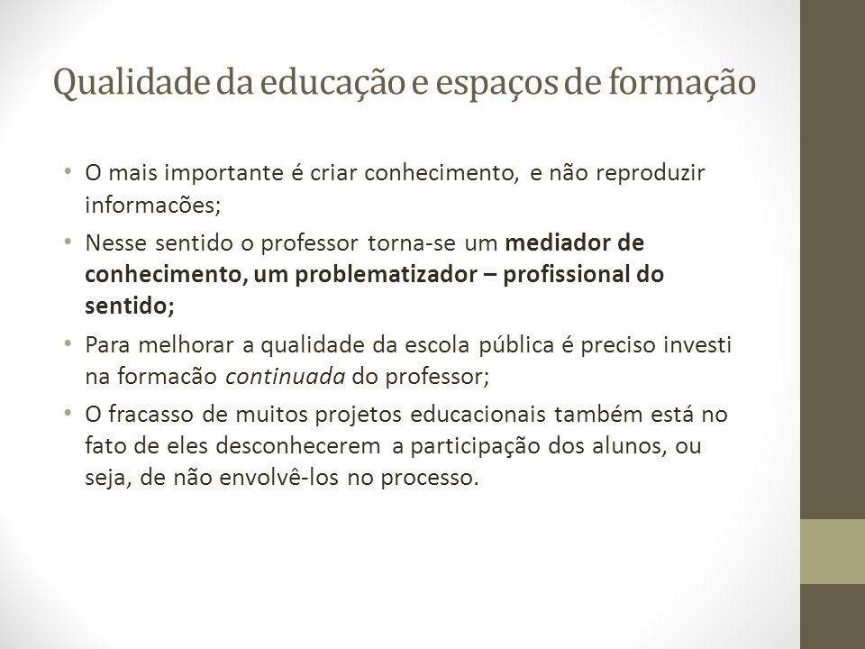 Qualidade da educação e espaços de formação