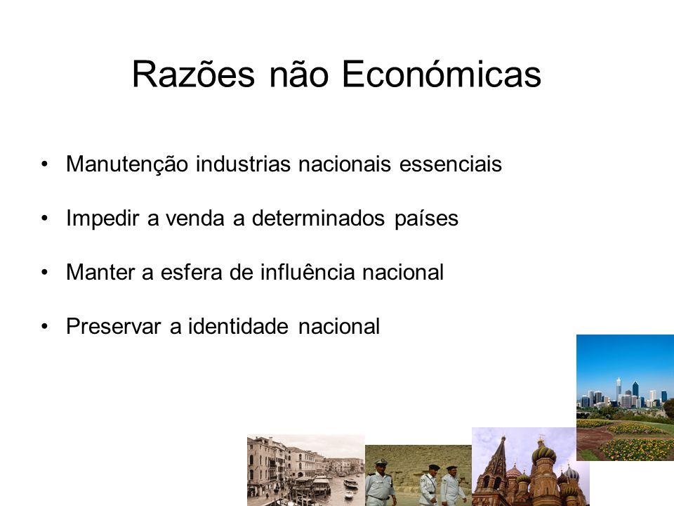 Razões não Económicas Manutenção industrias nacionais essenciais