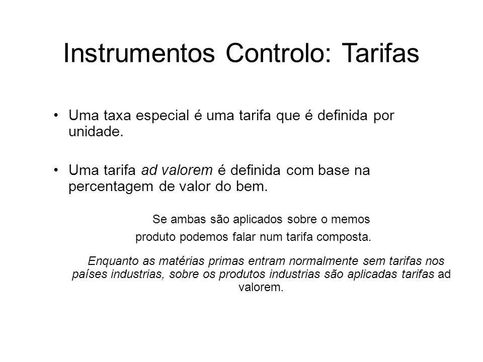 Instrumentos Controlo: Tarifas