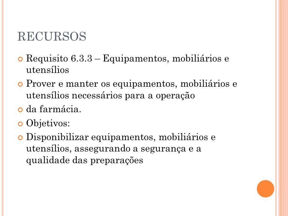 RECURSOS Requisito 6.3.3 – Equipamentos, mobiliários e utensílios