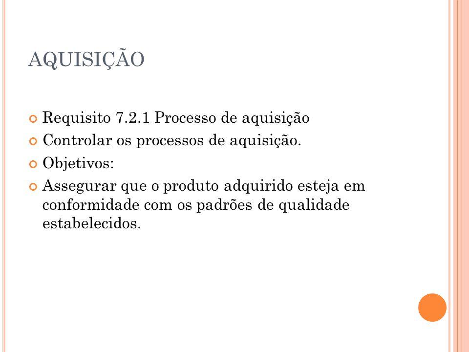 AQUISIÇÃO Requisito 7.2.1 Processo de aquisição
