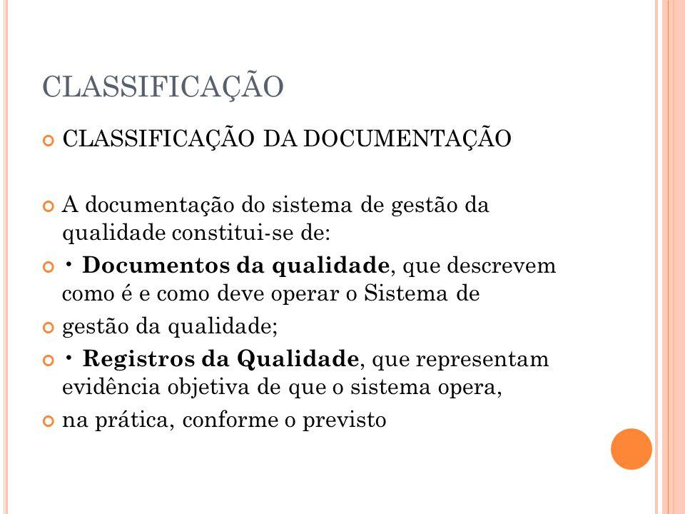 CLASSIFICAÇÃO CLASSIFICAÇÃO DA DOCUMENTAÇÃO