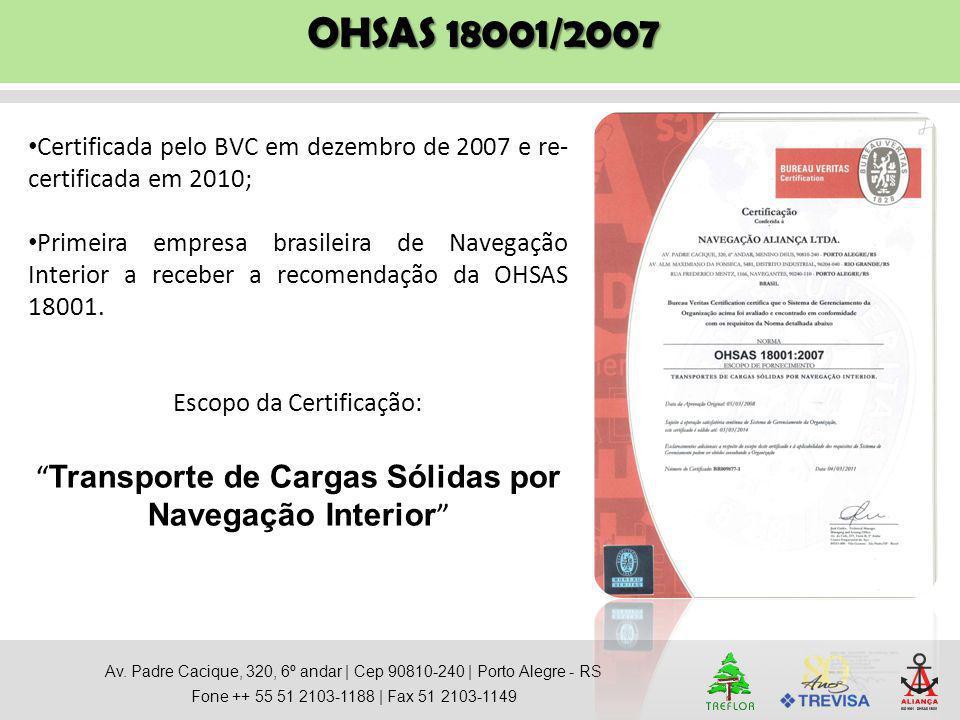 OHSAS 18001/2007 Transporte de Cargas Sólidas por Navegação Interior