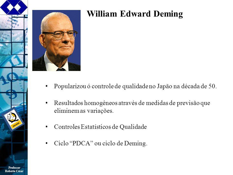 William Edward Deming Popularizou ó controle de qualidade no Japão na década de 50.