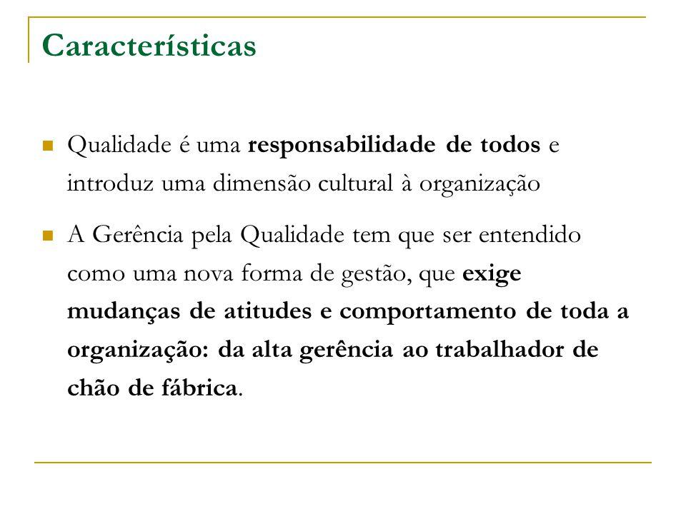 Características Qualidade é uma responsabilidade de todos e introduz uma dimensão cultural à organização.