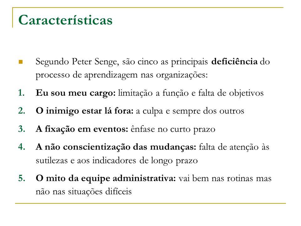 Características Segundo Peter Senge, são cinco as principais deficiência do processo de aprendizagem nas organizações: