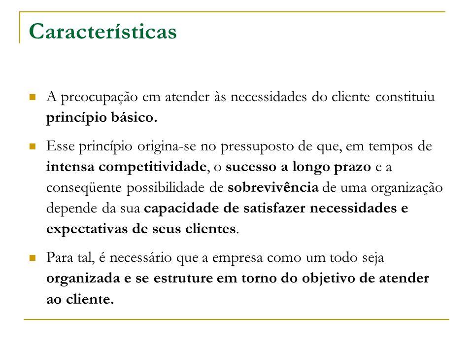 Características A preocupação em atender às necessidades do cliente constituiu princípio básico.