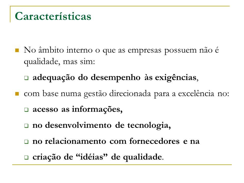 Características No âmbito interno o que as empresas possuem não é qualidade, mas sim: adequação do desempenho às exigências,