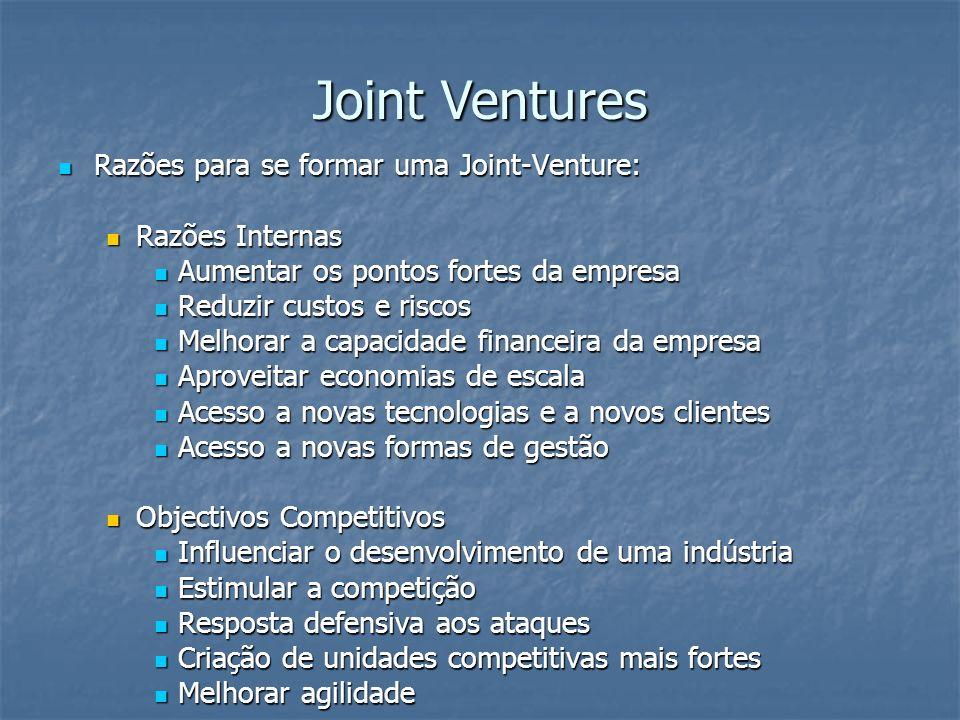 Joint Ventures Razões para se formar uma Joint-Venture: