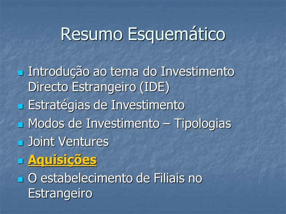 Resumo Esquemático Introdução ao tema do Investimento Directo Estrangeiro (IDE) Estratégias de Investimento.