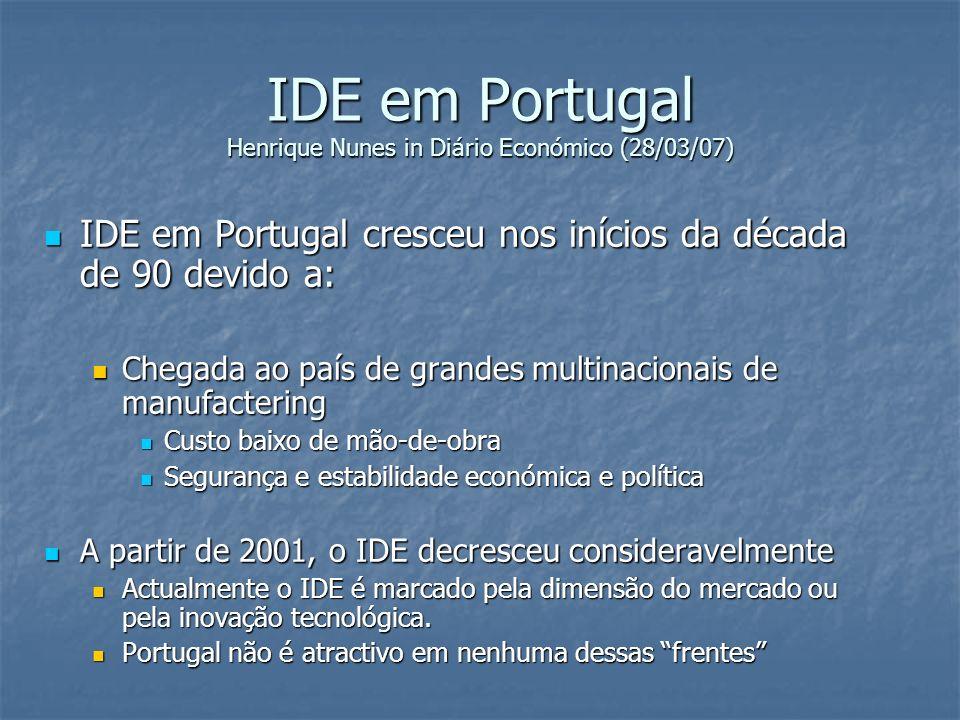 IDE em Portugal Henrique Nunes in Diário Económico (28/03/07)