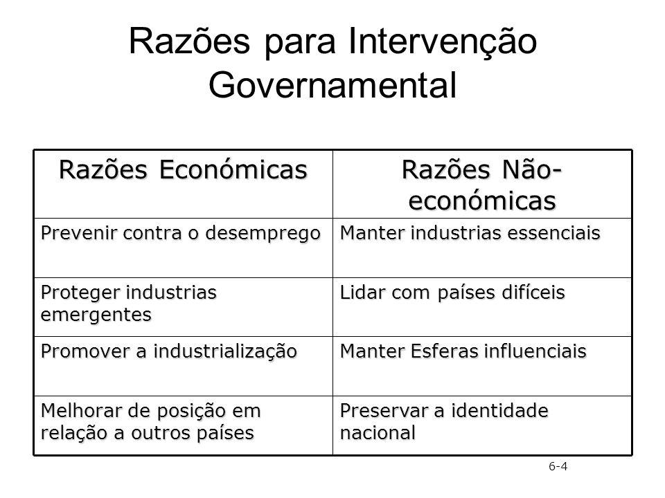 Razões para Intervenção Governamental